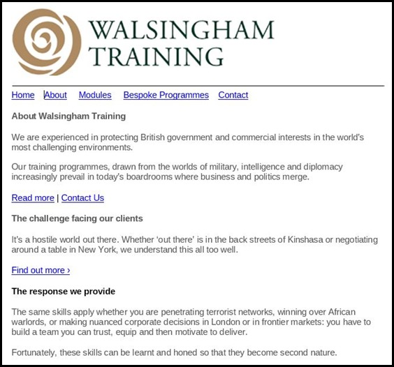 Walsingham Training Website