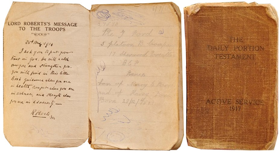 George Fords bible carried to the battle of the Somme