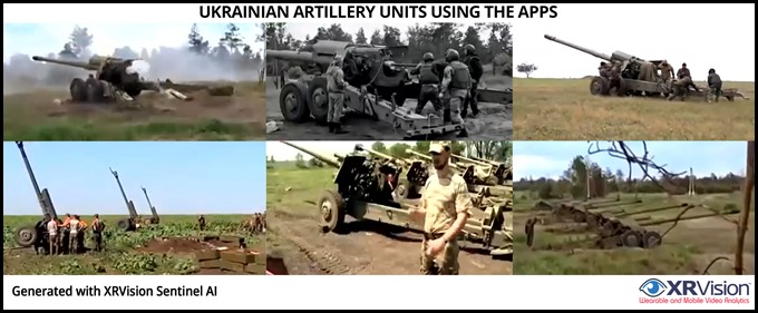 The Ukrainian towed howitzer units using the apps