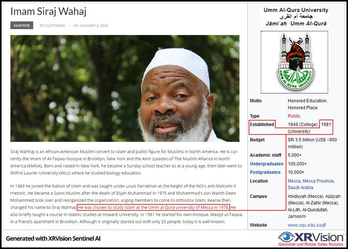 Imam Siraj Wahaj and his time travel to Umm Al-Qura University