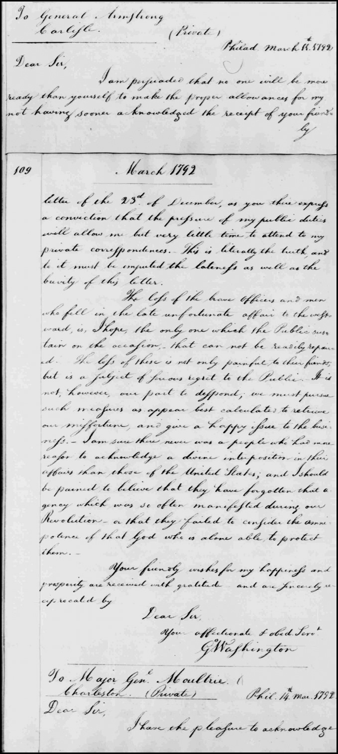 From George Washington to John Armstrong, 11 March 1792