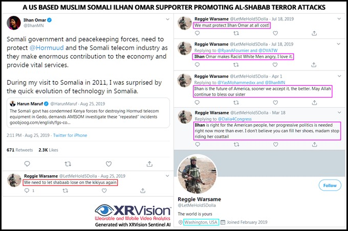 A US based muslim Somali Ilhan Omar Supporter promoting al-Shabab terror attacks