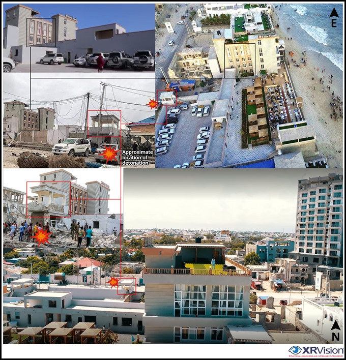 Elite Hotel at Lido beach Mogadishu before and after car bombing