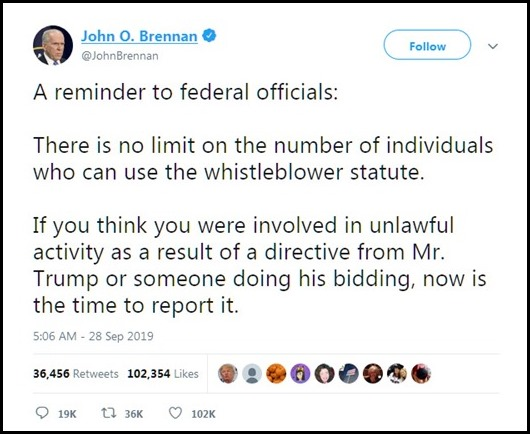 John Brennan calling all whistleblowers