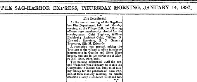 A2  1-14-1897 William Howard Fire Department Meeting Clip